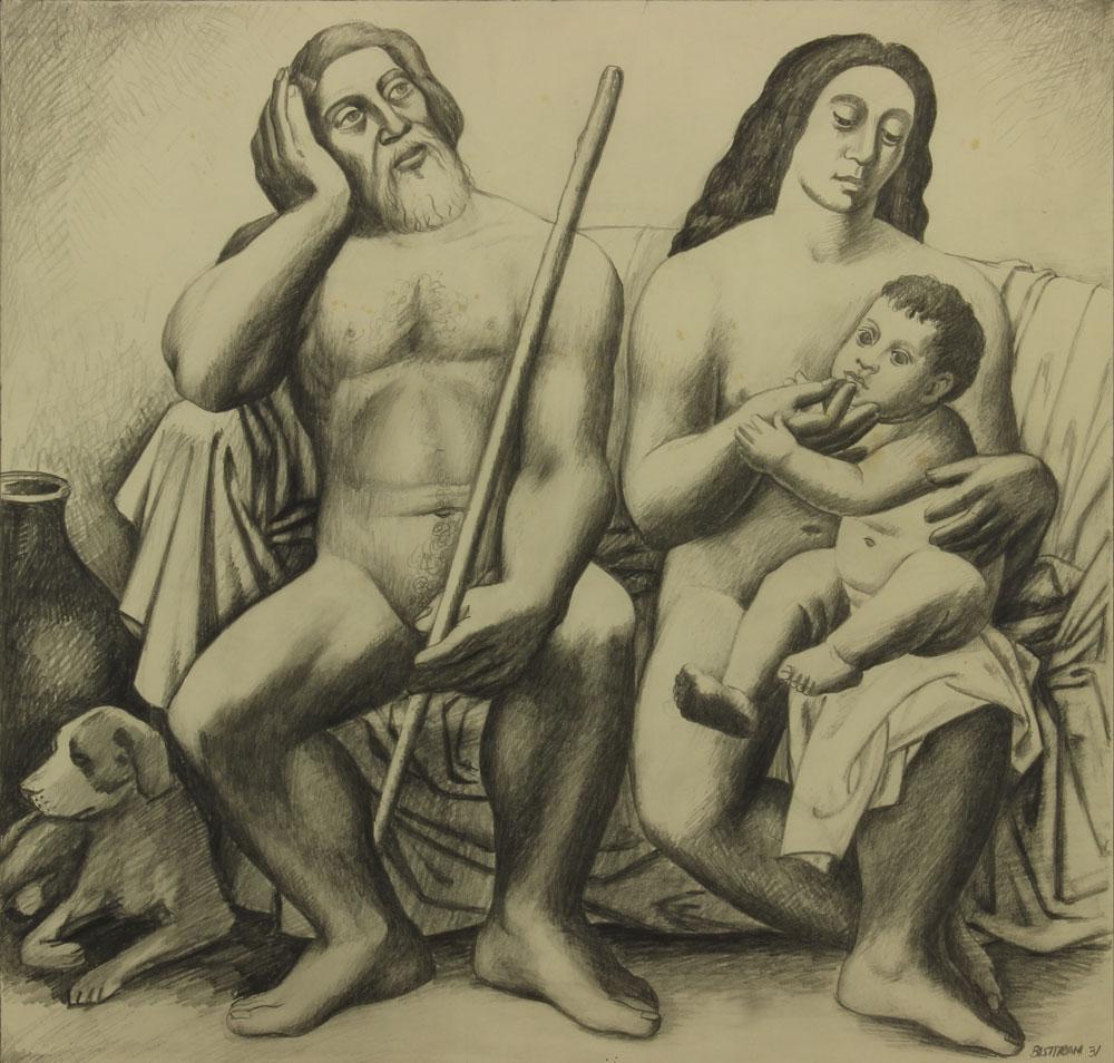 Bisttram-Emil---Adam-Eve-and-the-First-Born-1931-unframed