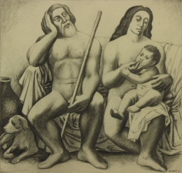 Bisttram-Emil---Adam-Eve-and-the-First-Born-1931-unframed