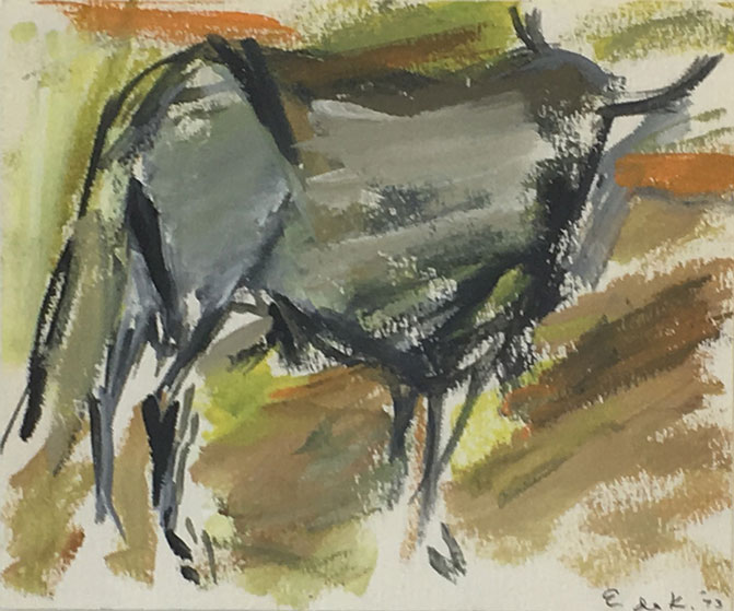 Elaine-De-Kooning_untitled-bull-1973_9x11.5-oil-paper_cropped-for-web