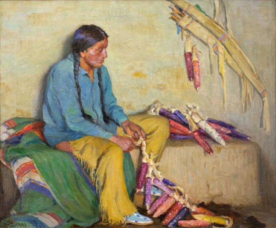 Sharp-Joseph-Henry---Stringing-Winter-Corn----Taos-Indian-edit.--web